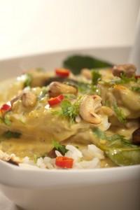 Pikantne curry z kurczaka z orzechami nerkowca i świeżą kolendrą