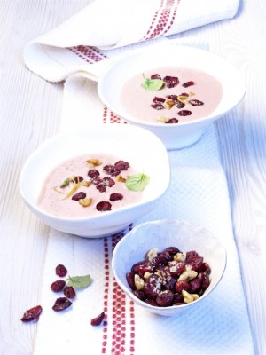 Słodki pucharek jogurtowy z żurawiną amerykańską