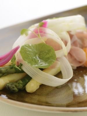 Szparagi z jajkiem w koszulce i szynką Proscitto Crudo