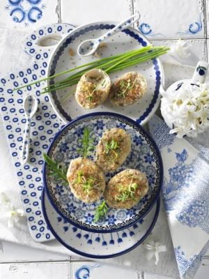 Zapiekane jajka z grzybami aromatyzowane oliwą truflową